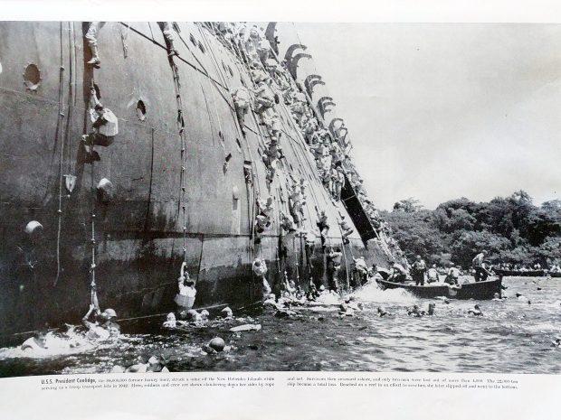 USS President Coolidge - Abandon Ship - Colliers Photographic History of World War II