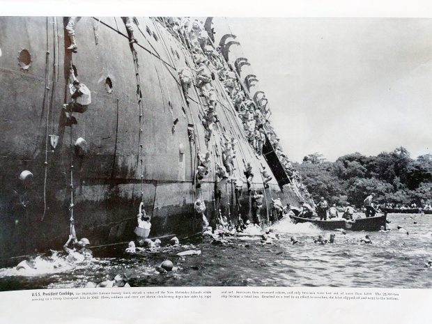 USS President Coolidge - Abandon Ship - Colliers Photographic History of World War II