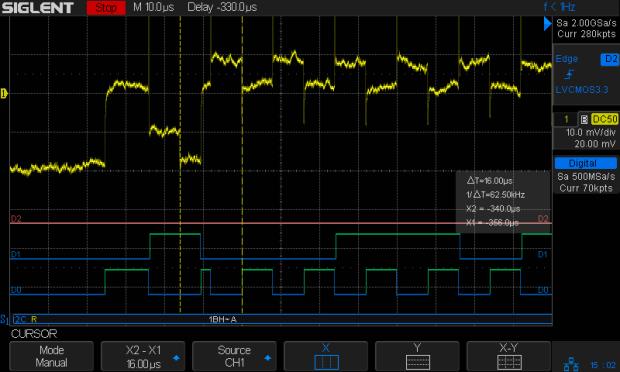 I2C 100kHz - BNO055 SCL 1 mA-div - B7 Rd error - Pi SCL mistiming