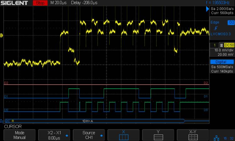 I2C 100kHz - BNO055 SCL 1 mA-div - B7 Rd error - SCL glitch