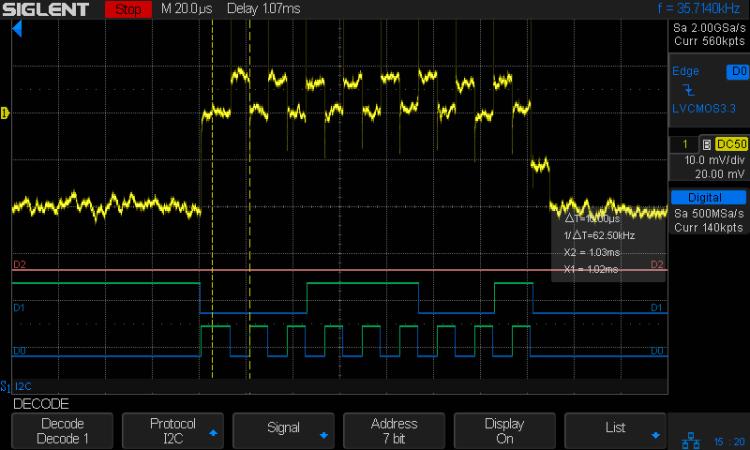 I2C 100kHz - BNO055 SCL 1 mA-div - B7 Rd OK - long SCL high