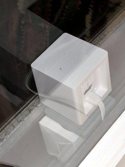 Wyze Cam in kitchen window