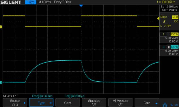 NPN - 100 Hz - 2.2k 2.2k 2x78nF - Vc Vcap - rise fall times