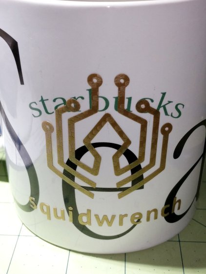 MPCNC Vinyl Cutting - Squidwrench logo on mug