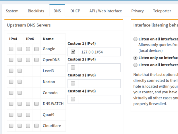 Pi-Hole - Cloudflare DNS config