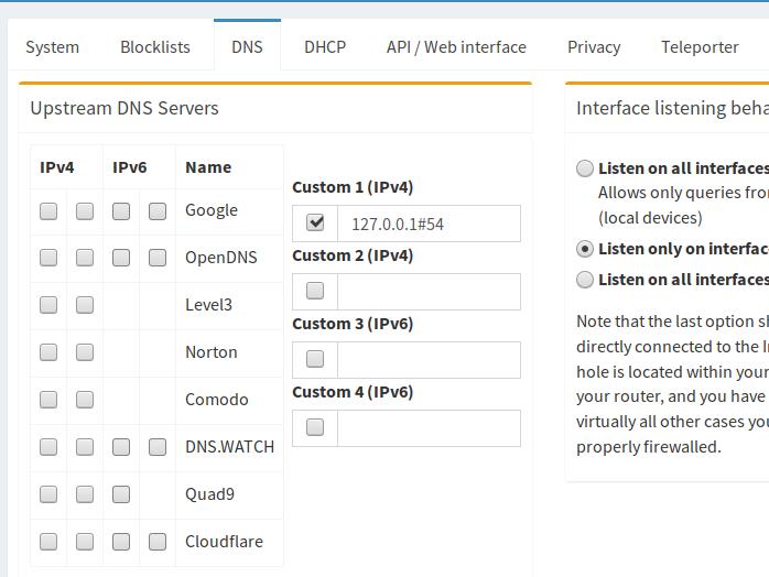 Pi-Hole - Cloudflare DNS config
