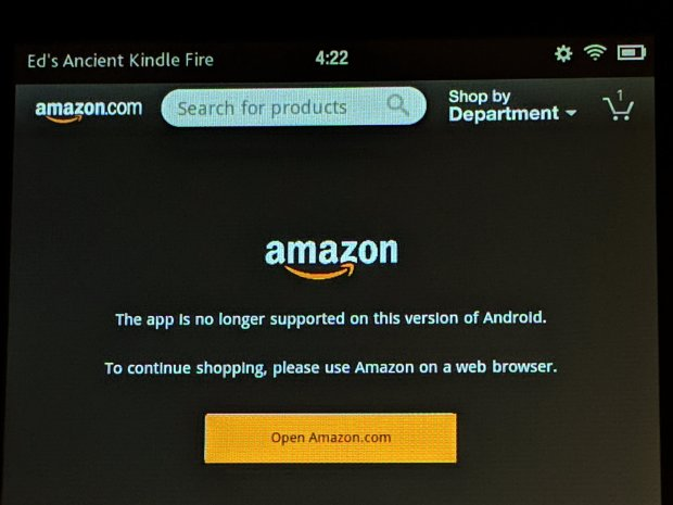 Amazon App Unsupported on Amazon Gen 1 Kindle