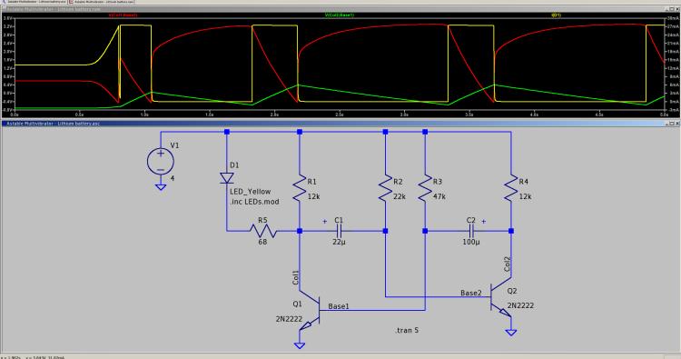Astable - 2N2222 cap voltages