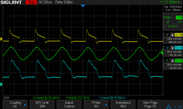 DSO150 - 18650 boost V - input output 100 mA-div