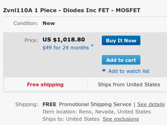 ZVNL110A MOSFET - kilobuck eBay pricing - detail