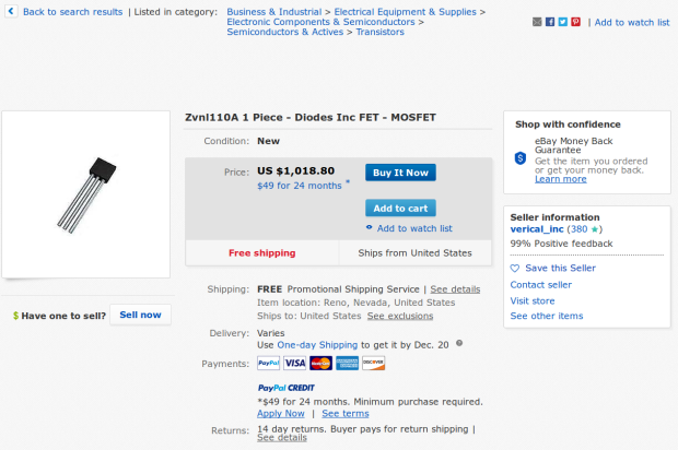 ZVNL110A MOSFET - kilobuck eBay pricing