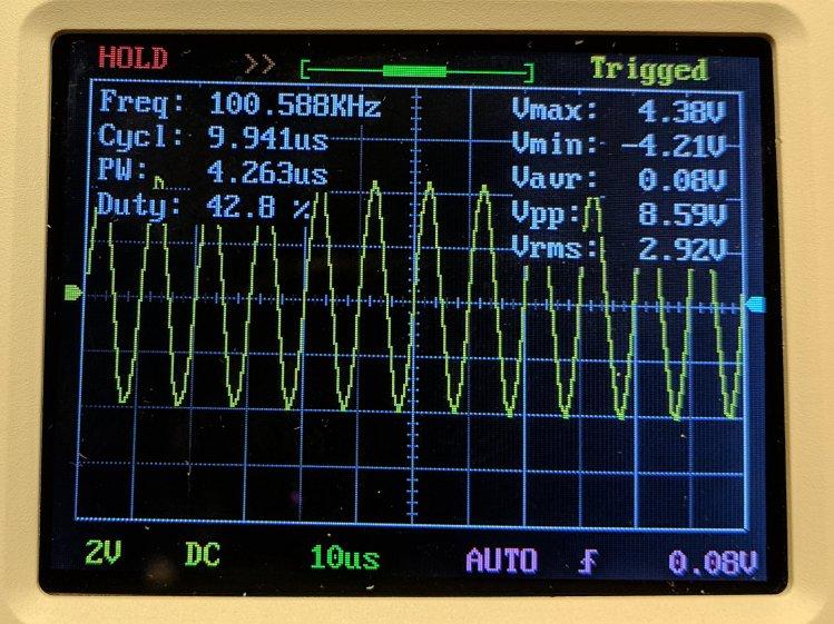 DSO150 - sine wave 100 kHz 10 us-div