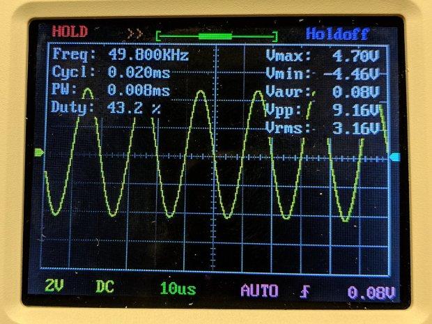 DSO150 - sine wave 50 kHz 10 us-div