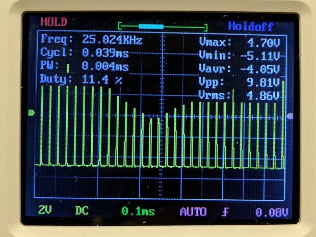 DSO150 - pulse 25 kHz 100 us-div