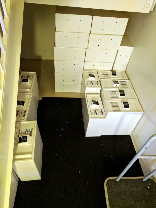 Motel Room Safes in stairwell