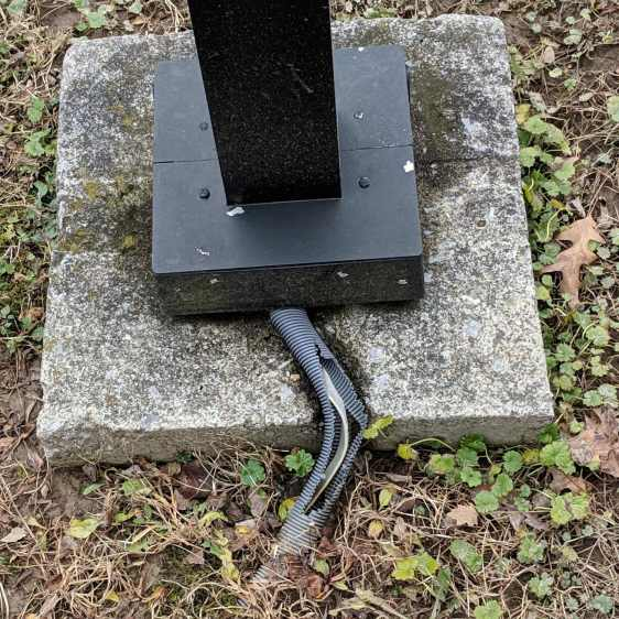 Square Lamp Post with Cut Cable Shield