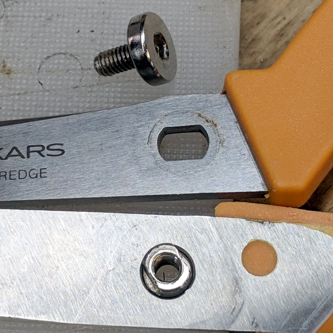 Fiskars scissors - pivot nut in place