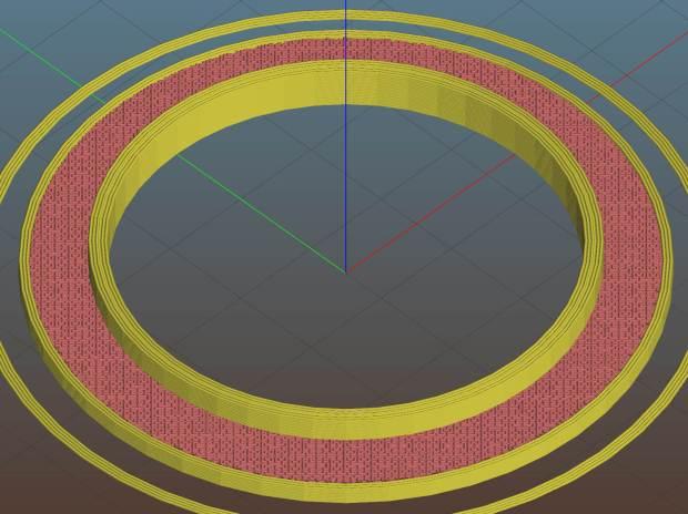 Blender base spacer - Slic3r preview