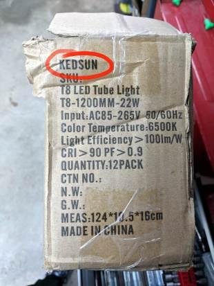Kedsum vs Kedsun - LED lamp carton