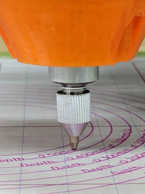 LM12UU Collet Pen Holder - test plot - detail