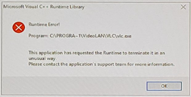 Windows Runtime Error - VLC