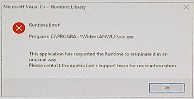 Windows Runtime Error - VLC