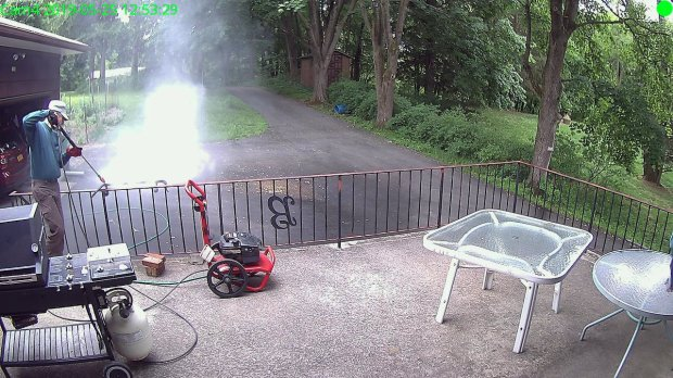 Pressure-washing Patio Railing
