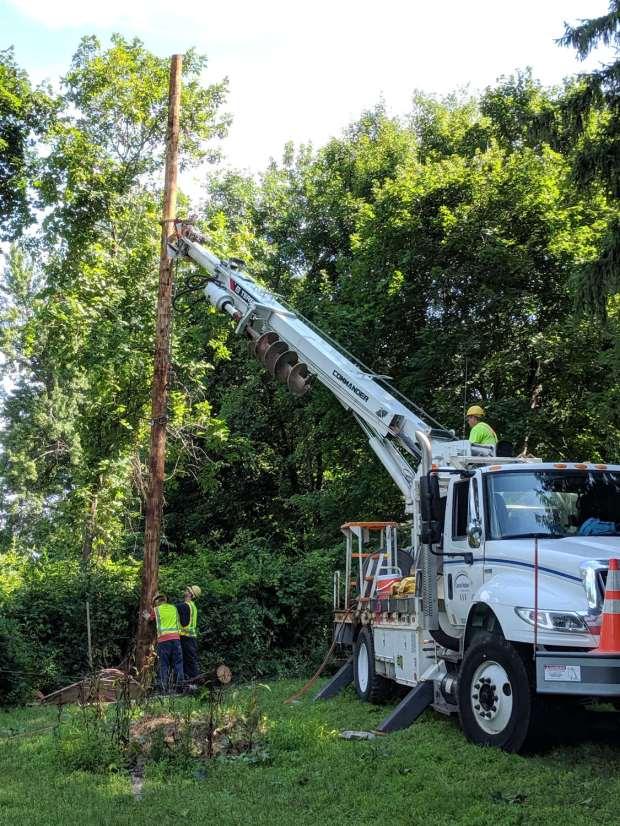New Utility Pole - installing
