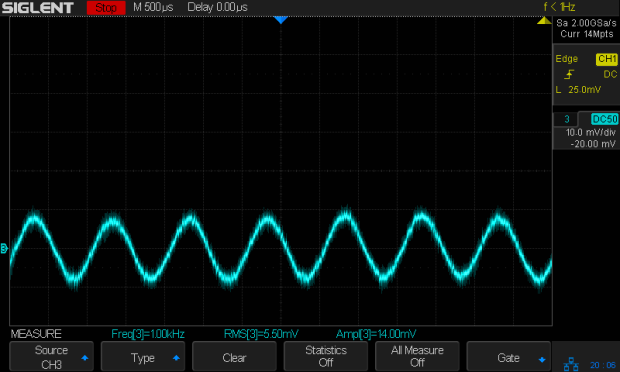 JDS6600 10mVpp 1 kHz - 4 turns - 1 mA-div