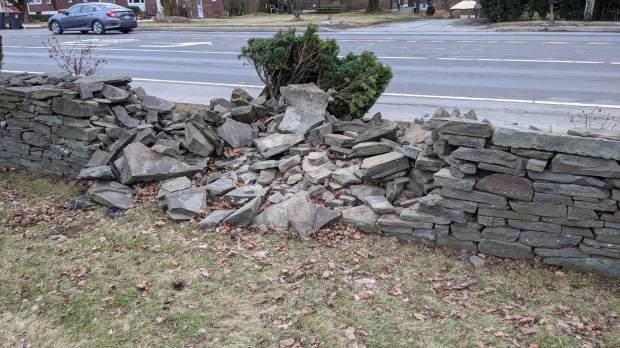 Adams crash - stone wall