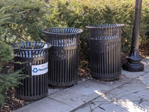 Vassar Library trash cans