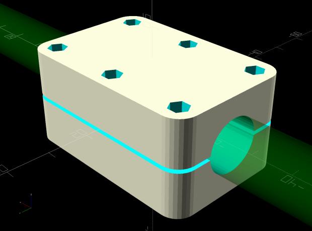 Round Soaker Hose Splice - OpenSCAD model