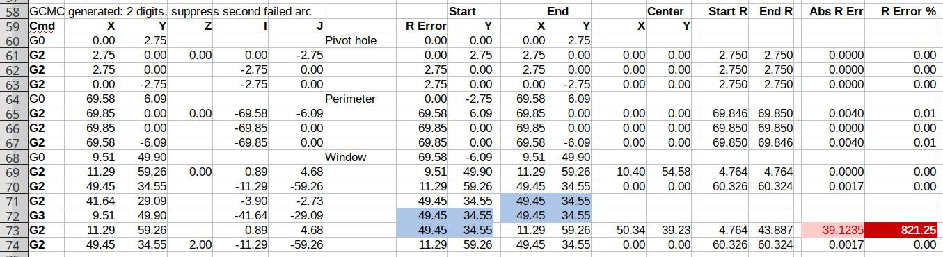 Spreadsheet - GCMC 2 digit - suppress second failed arc