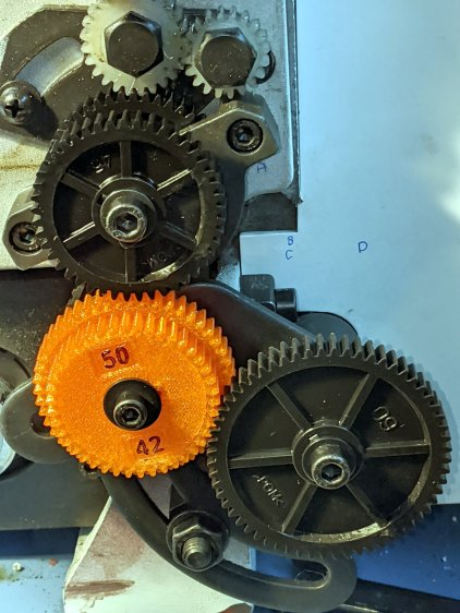 Mini-Lathe change gears - stacked 50-42 - installed