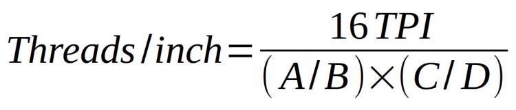 Mini-lathe - inch thread equation