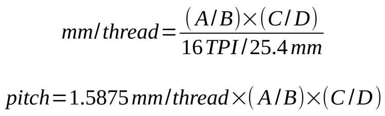 Mini-lathe - metric thread equation