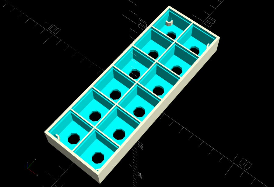 Glass Tile Frame - 2x6 cell array - openscad