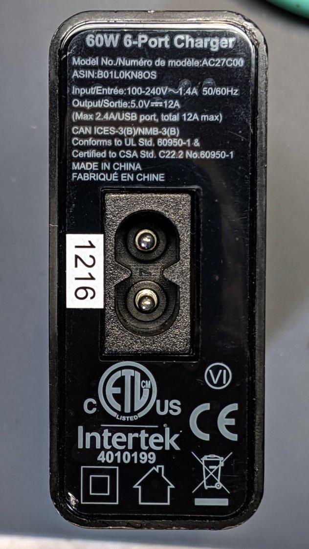 AmazonBasics charger - dataplate