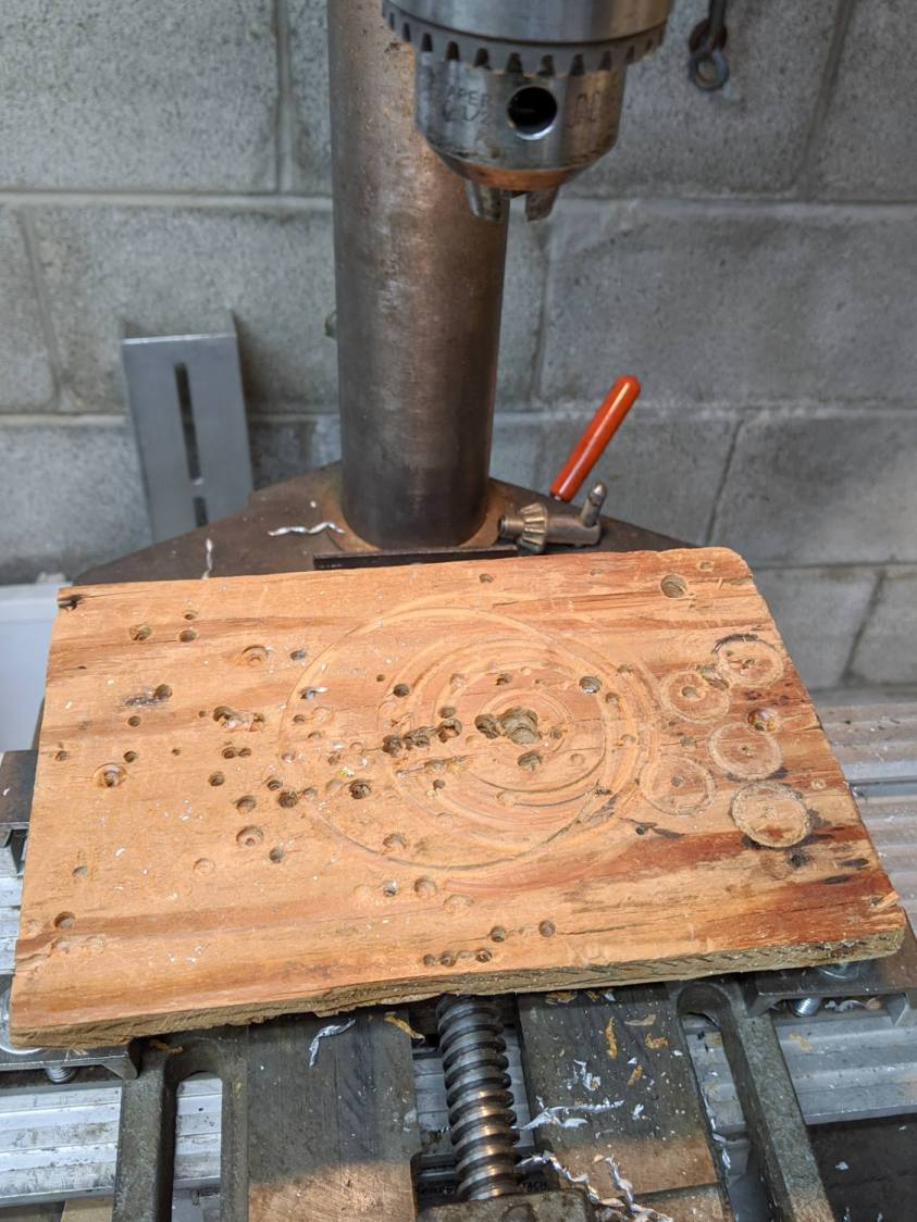 Drill press - scarred vise table
