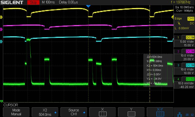 Astable NPN - 10 11 12 uF tweak - 10 mA-div
