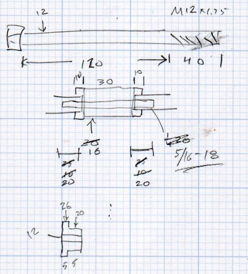 ER Collets - MT3 drawbar bolt - dimension doodles