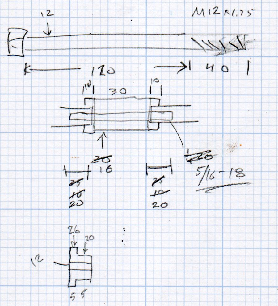 ER Collets - MT3 drawbar bolt - dimension doodles