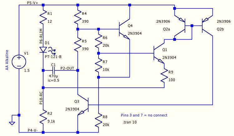 Discrete LM3909 - basic circuit