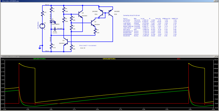 Discrete LM3909 - basic circuit - 3.0 V simulation