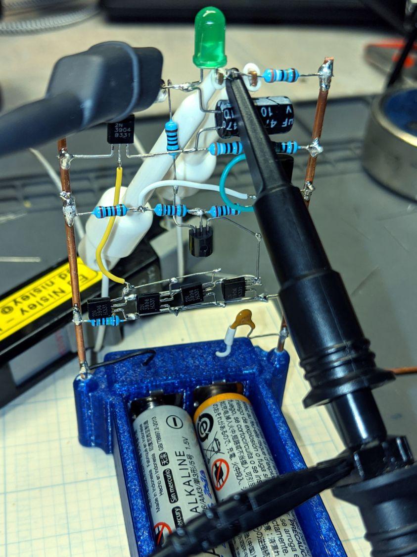 LM3909 - Darl Q1 3x Q2 mirror - test setup