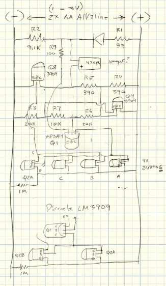 LM3909 wiring layout - Darl Q1 - 3x Q2 gain