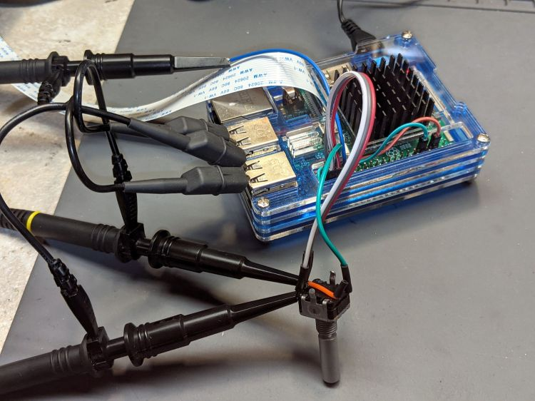 RPi knob encoder test setup