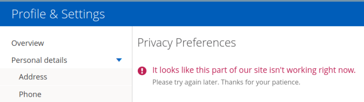 Chase Privacy Settings - not working