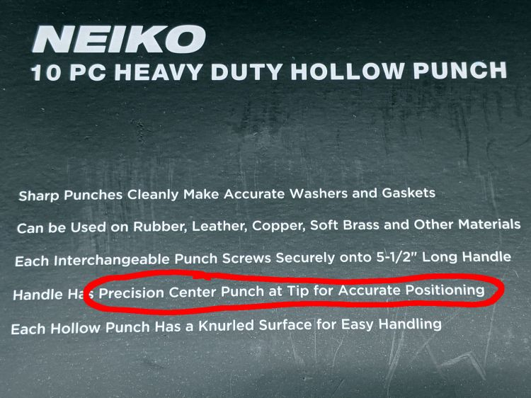 Neiko hole punch - description