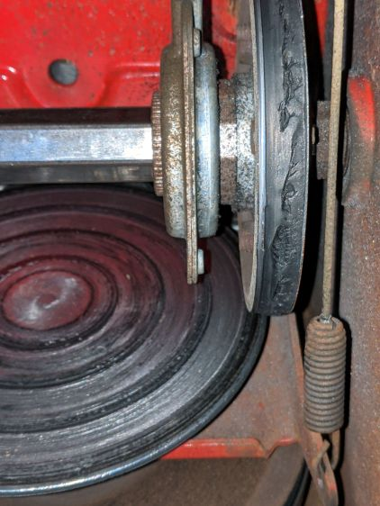 Snowthrower friction wheel - worn in place